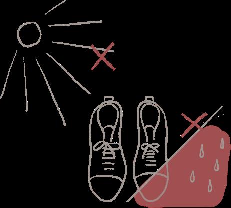 日光、靴、湿気のイラスト